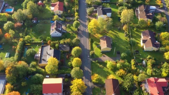 aerial view of villa area, fall colors - villa stock videos & royalty-free footage
