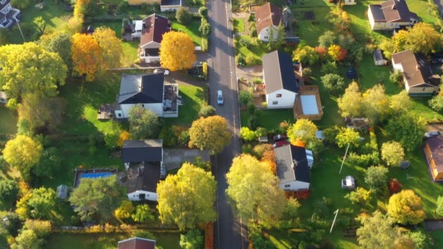 aerial view of villa area, fall colors - geographical locations stock videos & royalty-free footage