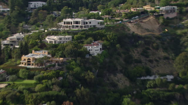 Los Angeles, California - March 30, 2011: Aerial view of villa in the Hollywood Hills at 9161 Oriole Way.