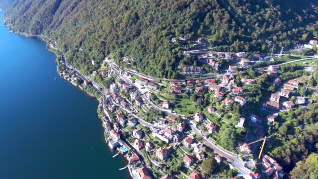 Aerial view of village at lake