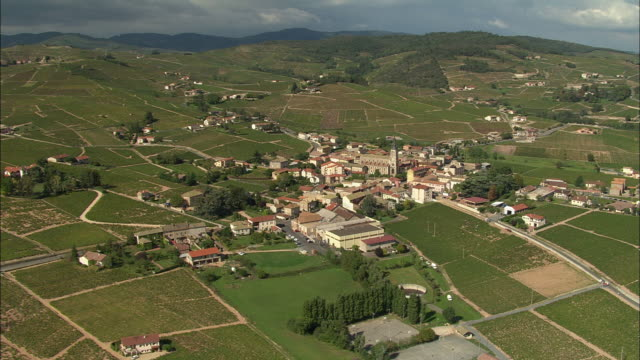ws aerial view of village in beaujolais area, rhone-alpes, france - rhone alpes stock videos & royalty-free footage