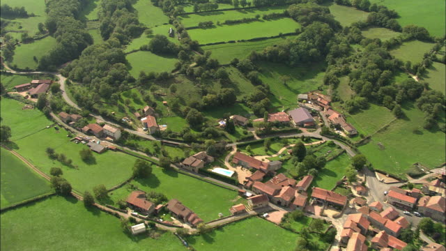 ws rear pov aerial view of village in beaujolais region, rhone-alpes, france - rhone alpes stock videos & royalty-free footage