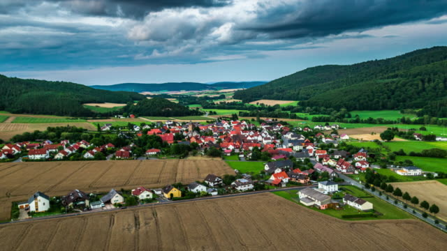 aerial view of village in hesse, germany - patchwork landscape stock videos and b-roll footage