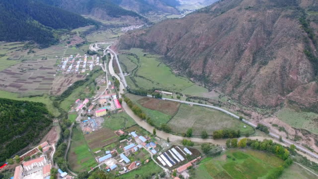 Aerial view of village in valley,Gansu,China.