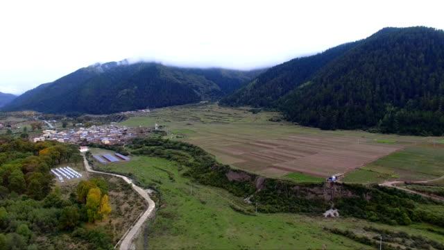 Aerial view of village in valley,Gansu,China.