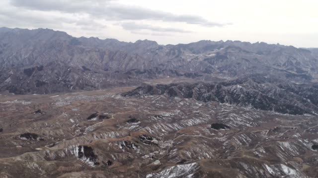 Aerial view of village next to the Great Wall on February 22 2017 in Beijing China