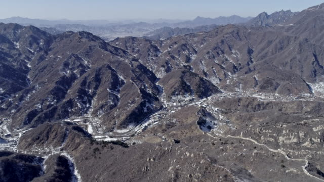 Aerial view of village next to the Mutianyu Great Wall on February 23 2017 in Beijing China