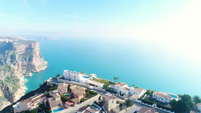 Aerial view of village on the cliff in Alicante, Spain