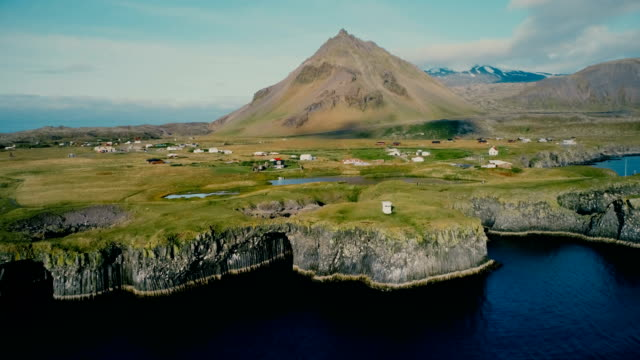 Aerial view of village on the coast in Iceland