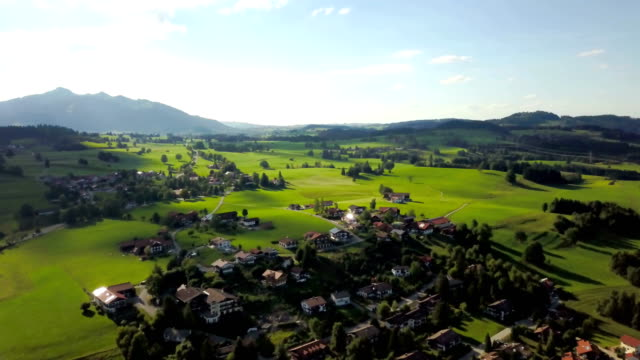Aerial view of villages near lake Weissensee in summer season - Carinthia