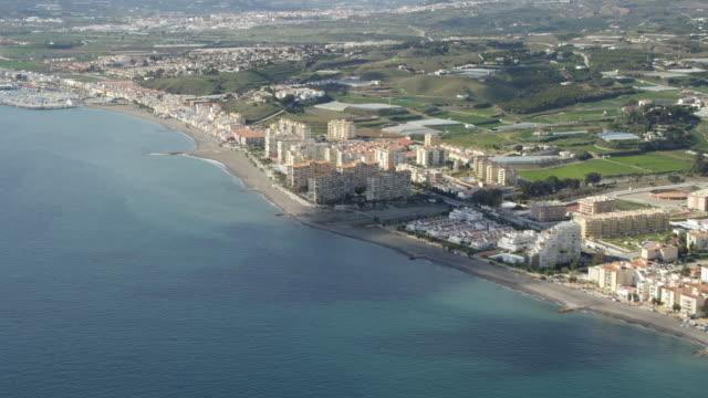 Aerial view of villas and marina along coastline of Costa del Sol, Torre del Mar / Malaga, Andalusia, Spain