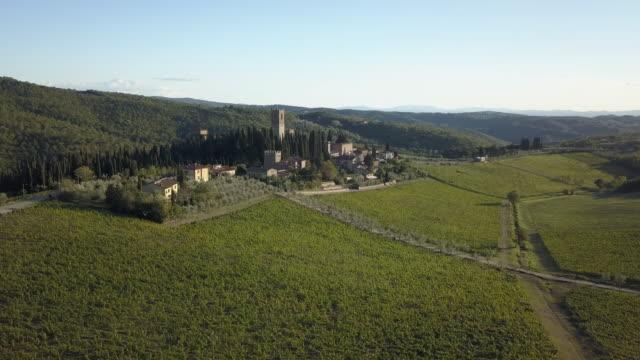 stockvideo's en b-roll-footage met luchtfoto van wijngaard landschap bij zonsondergang - toscane
