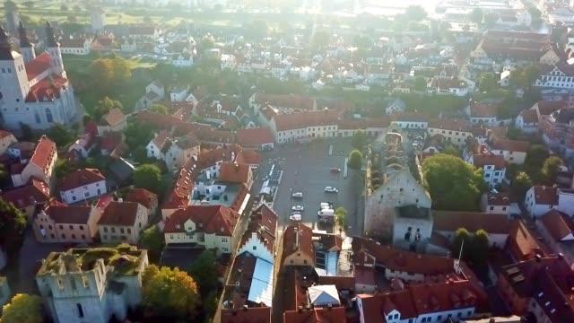 stockvideo's en b-roll-footage met luchtfoto van visby-gotland/zweden - eco tourism