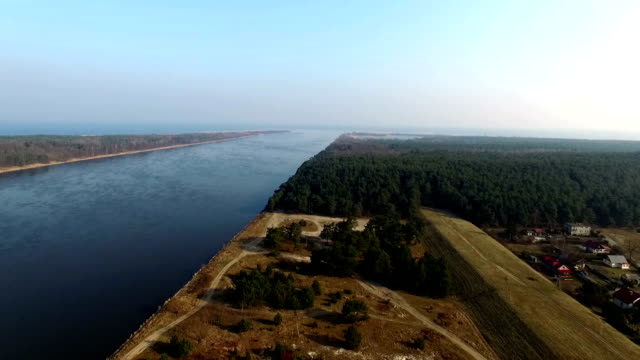 aerial view of vistula river estuary poland - estuary stock videos & royalty-free footage