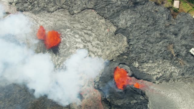 Aerial view of volcanic hot magma destroying landscape