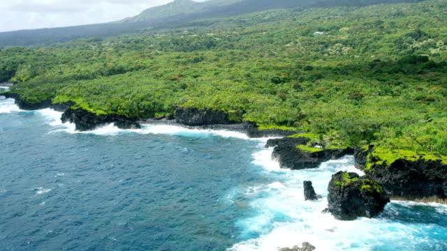 vídeos de stock e filmes b-roll de aerial view of volcanic shoreline maui hawaii usa - povo polinésio