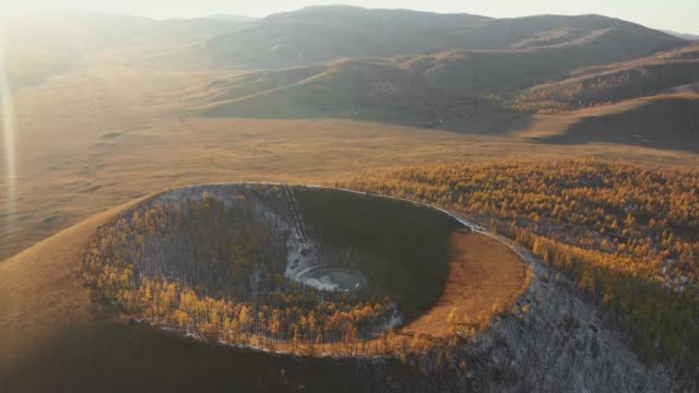 aerial view of volcano in mongolia - mongolia video stock e b–roll