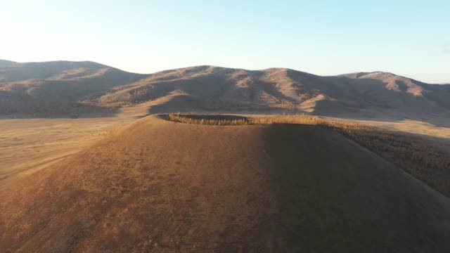 aerial view of volcano in mongolia - steppe stock videos & royalty-free footage