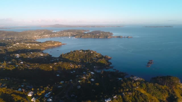 aerial view of waiheke island. - island stock videos & royalty-free footage