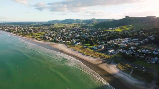 Aerial view of Waihi Beach coastline, Bay of Plenty, New Zealand.