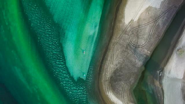 Aerial view of Waiwera beach, Auckland, New Zealand.