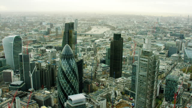 aerial view of walkie talkie building and gherkin - london england stock videos and b-roll footage