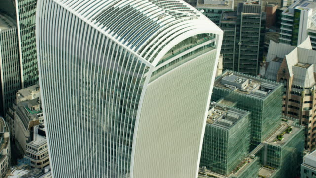 aerial view of walkie talkie building in london - geographical locations stock videos & royalty-free footage