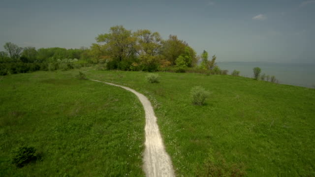 Aerial view of walking trail revealing whole park and lake