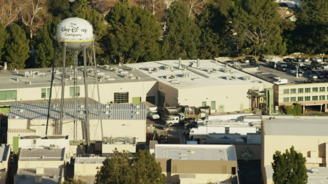 aerial view of walt disney studios burbank california - disney stock videos and b-roll footage
