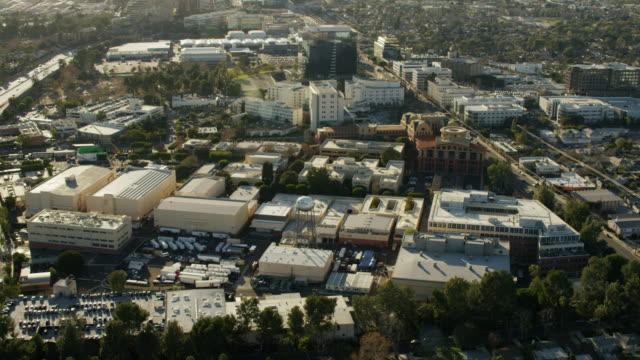 aerial view of walt disney studios los angeles - hollywood stock videos & royalty-free footage
