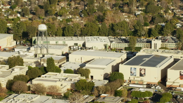 aerial view of walt disney studios los angeles - バーバンク点の映像素材/bロール