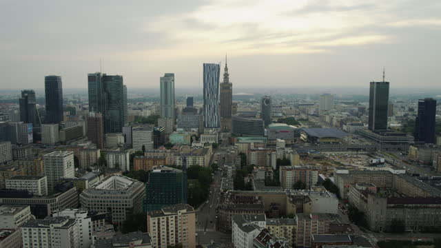 aerial view of warsaw center. residetial buildings and skyscrapers seen from above - warsaw stock videos & royalty-free footage