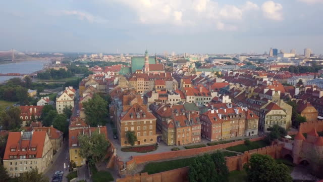 aerial view of warsaw old town and market square with new city in background - warsaw stock videos & royalty-free footage