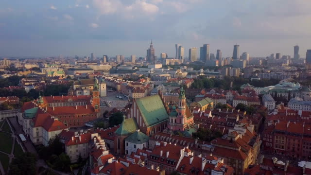 aerial view of warsaw old town with new city in background - varsavia video stock e b–roll