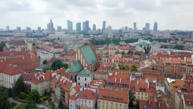 aerial view of warsaw with the new and the old city. - poland stock videos and b-roll footage