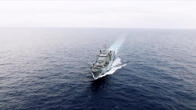 aerial view of warship - ship stock videos & royalty-free footage