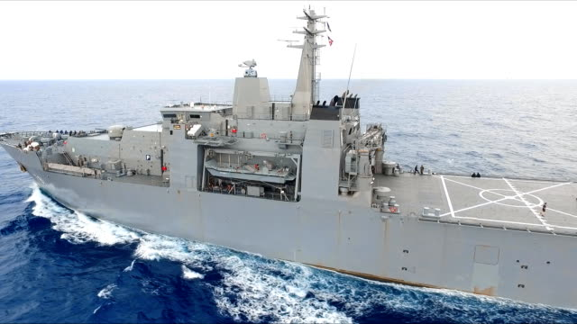 aerial view of warship - military ship stock videos & royalty-free footage
