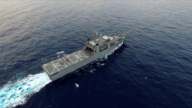 aerial view of warship - nave da guerra video stock e b–roll