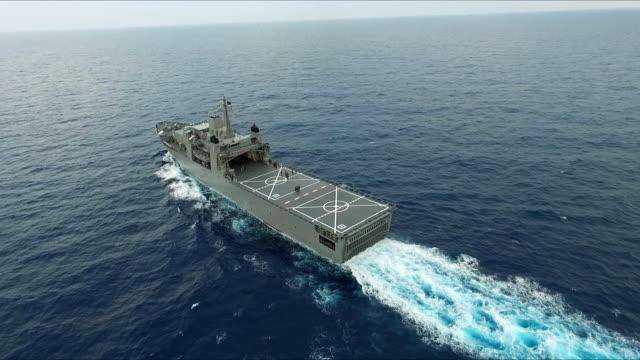 aerial view of warship - battleship stock videos & royalty-free footage