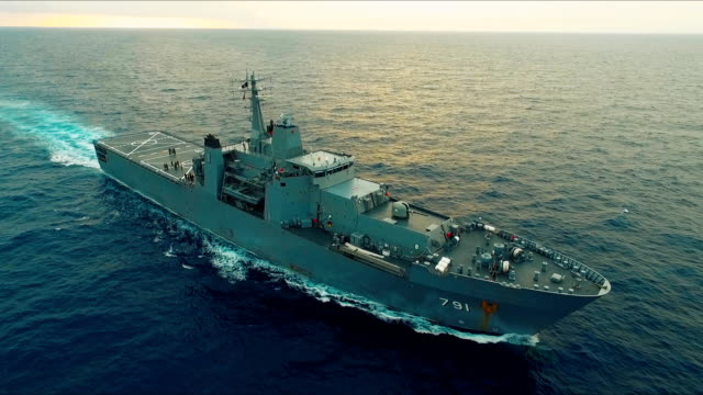 aerial view of warship - navy stock videos & royalty-free footage
