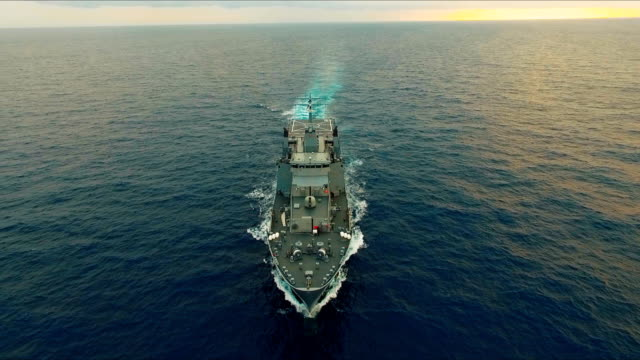 Aerial view of warship