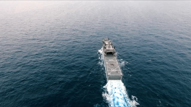 aerial view of warship - marina personale militare video stock e b–roll