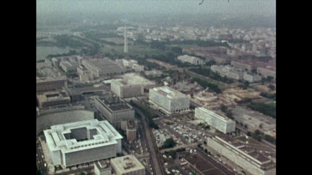 aerial view of washington d.c. over the national mall; 1972 - capital cities stock videos & royalty-free footage