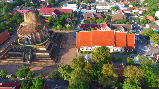 Aerial view of Wat Chedi Luang Buddhist temple