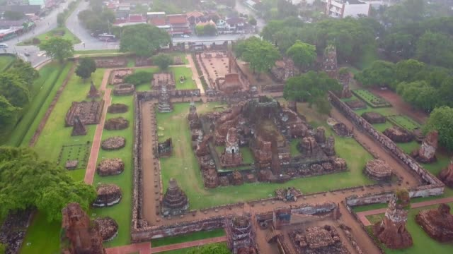 aerial view of wat mahathat is a buddhist temple,  part of the ayutthaya world heritage historical park, thailand - myanmar stock videos and b-roll footage