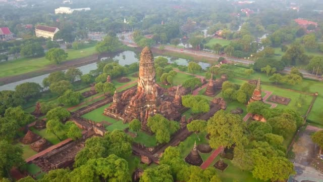 aerial view of wat phra ram is a buddhist temple, part of the ayutthaya world heritage historical park, thailand - bangkok stock videos & royalty-free footage