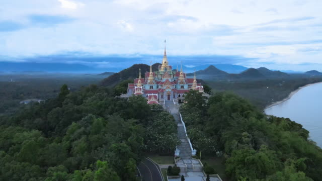 aerial view of wat tang sai temple in prachuap khirikhan, thailand - palace stock videos & royalty-free footage