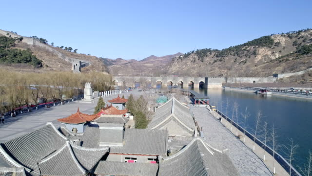 aerial view of water gate of the great wall - great wall of china stock videos & royalty-free footage
