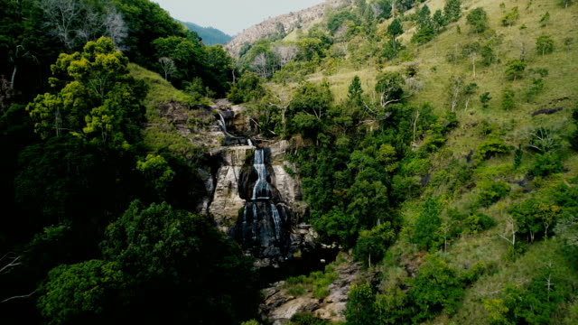 Aerial view of waterfall in Sri Lanka