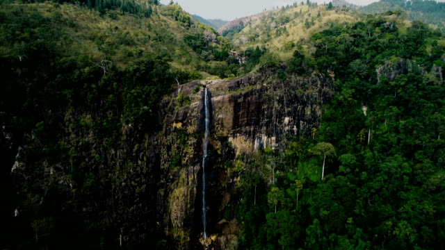 aerial view of waterfall in sri lanka - sri lanka stock videos & royalty-free footage